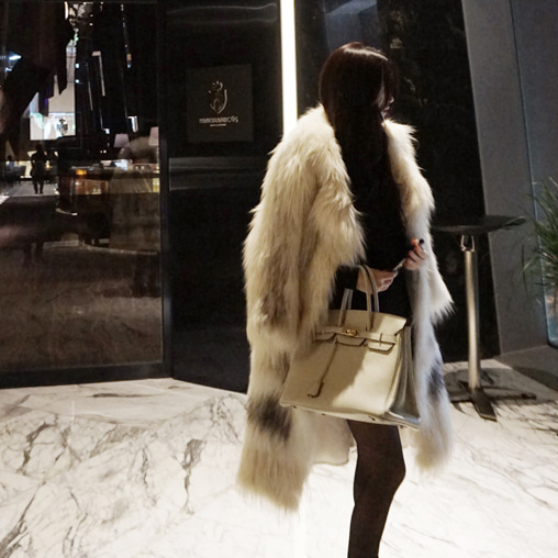 Long style Fox fur overcoat