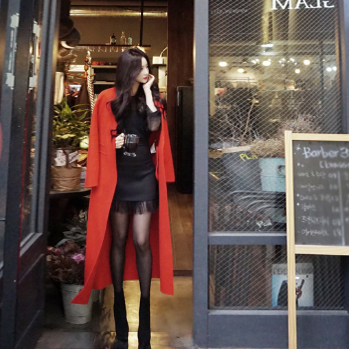 GALAXIE Long double-sided wool coat in red
